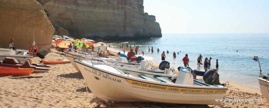 Boats at Praia de Benagil Beach
