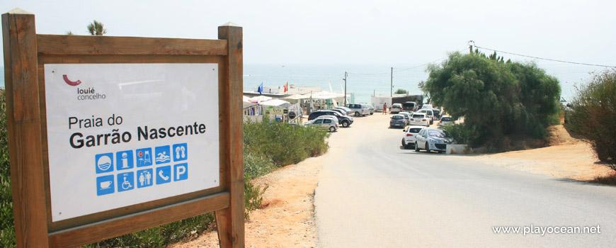 Sign of Praia do Garrão (East) Beach