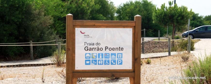 Sign of Praia do Garrão (West) Beach