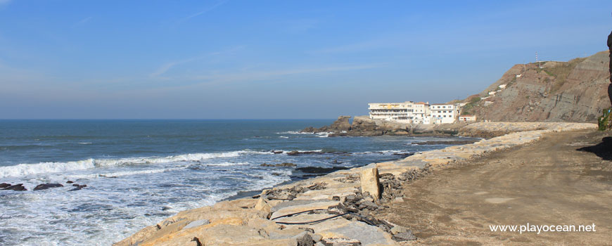 Seawall at Praia do Porto das Barcas Beach