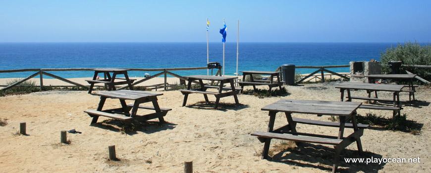 Mesas de refeições na Praia da Fonte do Cortiço