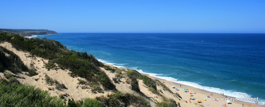 South, top of the dune at Praia do Moinho de Baixo Beach
